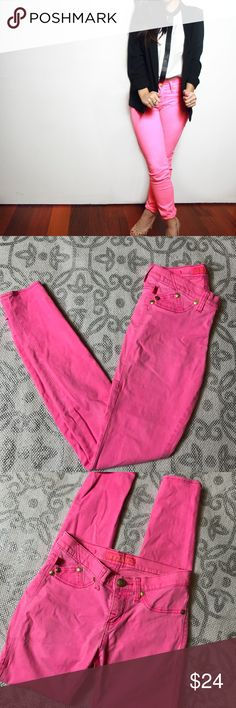 "Rock and Republic Pink Jeans olor: Neon Pink / Gold   Description: 2 Functional back pockets, Stretchy   ·      Approximate Across Measurements: Length 37"" Waist 13"" Inseam 29""  Fabric: 80% Cotton 17% Rayon 3% Spandex Rock & Republic Jeans Skinny"