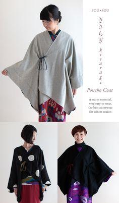 produkt 2 - The world's most private search engine Poncho Mantel, Kimono Mantel, Poncho Coat, Kimono Coat, Unique Fashion, Love Fashion, Orientation Outfit, Japanese Sewing Patterns, Modern Kimono