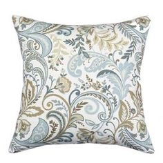Linen-blend pillow with multicolor floral motif.   Product: PillowConstruction Material: 55% Linen and 45% rayon coverColor: Seaglass and multiFeatures:  Insert includedZipper closure Corded edge  Dimensions: 17 x 17Cleaning and Care: Spot clean