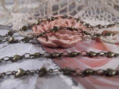 Antique Bronze  Very Dainty Heart Chain  1 Yard  by CrystalandRust, $8.95