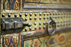 Beautiful bolt on a zouaki door in Riad Laaroussa, in the Fes Medina