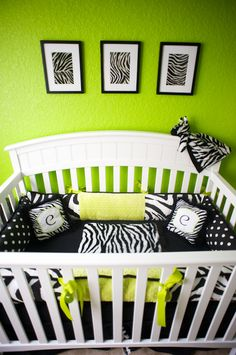 Lime green black white theme baby's room, perfect for a baby girl! :)