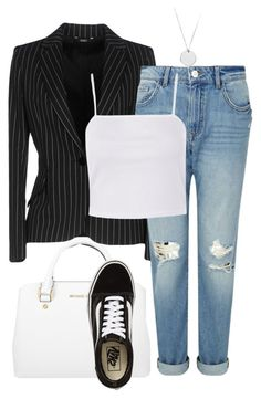"""#128"" by mintgreenb on Polyvore featuring Michael Kors, Carla G., Miss Selfridge, Topshop and Vans"