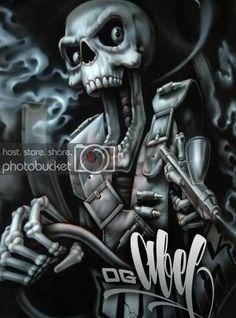 crazy photo by Danielzjr Boris Vallejo, Og Abel Art, Art Chicano, Minions, Grim Reaper Art, Lowrider Art, Luis Royo, Desenho Tattoo, Skulls And Roses
