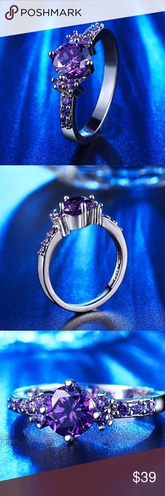 Sz 7 Amethyst White Gold ring (purple lovers ) This is a new trendy alternative for an engagement ring or wedding ring. This ring is so beautiful that my own daughter bought one as well because her birthday is in February so her birthstone is Amethyst. It truly sparked exactly as the picture shows!  Purple cubic zirconia, white gold plated. Jewelry Rings #weddingring