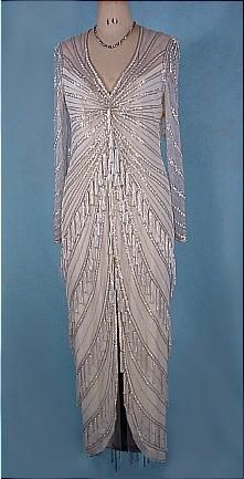 c. 1980's  BOB MACKIE  White Beaded and Tasseled Gown