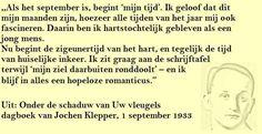Quote. Zigeunertijd van het hart. Citaat uit dagboek Jochen Klepper.