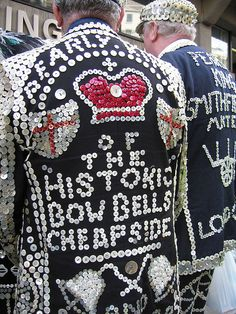 Pearly Kings - if you were born within earshot of the Bow Bells (the bells of St Mary-le-Bow church on Cheapside, you can claim to be a true Cockney My Grandad was :) Tours Of England, London England, London History, British History, Old London, East London, Fancy Dress, Dress Up, Fashion Details