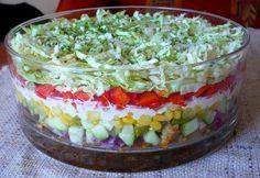 sałatka gyros Polish Recipes, Polish Food, Tzatziki, Healthy Salad Recipes, Tortellini, Bon Appetit, Guacamole, Cobb Salad, Sweet Treats
