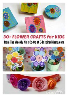 30+ Flower Crafts for Kids + The Weekly Kids Co-Op Link Party - #kids #kidscrafts #binspiredmama #kbn