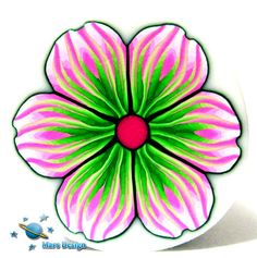 Polymer clay cane PINK GREEN  flower  cane by Mars by marsdesign, $6.90