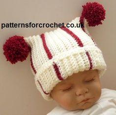 Free baby crochet pattern for T-Bag hat http://www.patternsforcrochet.co.uk/t-bag-hat-usa.html #patternsforcrochet