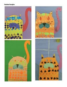 Art Lesson Plan Teaching pattern with Laurel Burch. 2nd grade. Stamping.