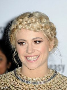 Pixie Lott stuns in shimmering gold dress and braided updo #dailymail