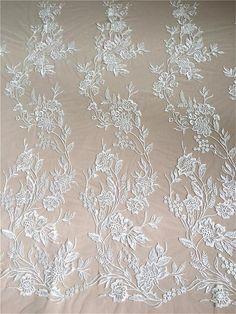 Vintage Lace Collar Bodice Beige Beautiful Floral Design Vintage Wedding Dress Sewing Supplies