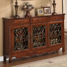 """NARROW - 12""""  entry table    Walnut Three Door Scroll Console Table by Powell 