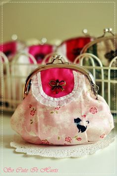 Reymi Bib Purse in linen shades of pink, lace, roses and cats