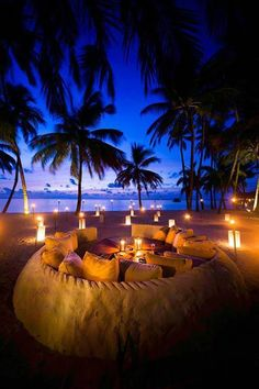 Maldives - Beach at night + Romantic + Lounging + Candles + Palms + Blue + Yellow