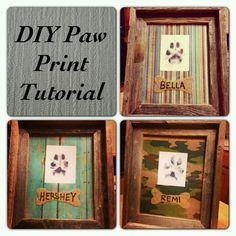 DIY Paw Print + Name Frame (Inspiration. No Tutorial Link. A Quick Search May Locate it.)