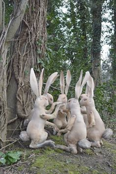 Prayer meeting, Easter inspiration from the genius of faux textile taxidermy Mr. Finch , a meditation of rabbits ( Miyo Jergen) Textile Sculpture, Soft Sculpture, Rabbit Sculpture, Garden Sculpture, Lapin Art, Mister Finch, Rabbit Art, Bunny Art, Garden Ornaments