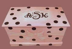 Monogrammed Wooden Chest With Polka Dots And Ribbon Custom Designed, Hand-made…