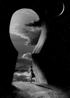 I love this because of the contrast of light and dark. If you notice, there is a subtle picture of the night sky and the moon behind the keyhole in the shadows. It's almost like a ying and yang kind of thing. Plus, I like how big the keyhole is compared to the person.