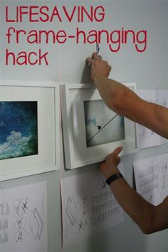 IKEA picture frame hanging hack from A View Along the Way. Amazing FREE trick for hanging picture frames in a grid, with no more frustration. Would work on any other frame with a wire across the back too. Hanging Picture Frames, Hanging Photos, Hanging Pictures On The Wall, Picture Groupings, Photo Hanging, Framed Pictures, Picture Hangers, Hanging Art, Do It Yourself Decoration