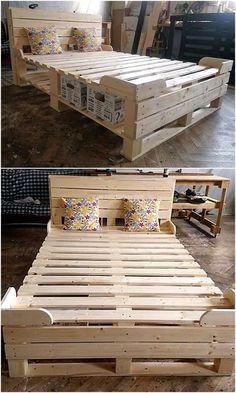 pallet ideas Ingenious DIY Ideas to Reuse Wood Pallets Pallet Furniture Bed, Wood Pallet Beds, Diy Pallet Wall, Pallet Furniture Designs, Pallet Designs, Diy Furniture Projects, Diy Pallet Projects, Pallet Ideas, Wood Pallets