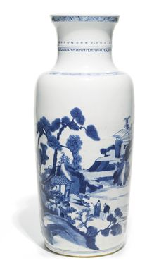 Lot 224| Sotheby's A BLUE AND WHITE 'LANDSCAPE' ROULEAU VASE QING DYNASTY, KANGXI PERIOD.