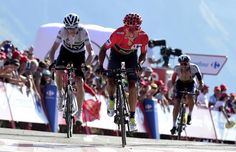 Nairo Quintana and Chris Froome sprint for the finish line at the end of stage 14