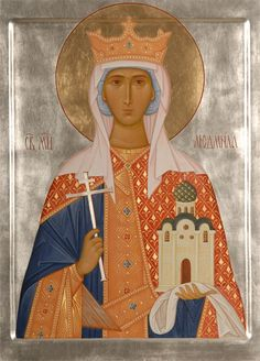 Icon of St Ludmila -  Hand-Painted Icon from the Workshop of St. Elisabeth Convent - To learn more about our Icon Painting Studio:
