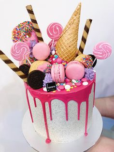 Party cake Cookies and cream buttercream with hot pink drip, ice cream, sprinkles and donuts Cake Decorating Techniques, Cake Decorating Tips, Pretty Cakes, Cute Cakes, Pastel Avengers, Torta Candy, Candy Birthday Cakes, Beautiful Cake Designs, Ice Cream Party