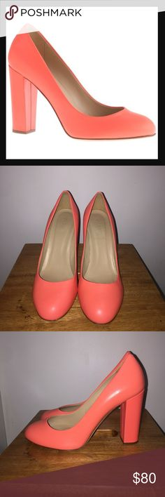 J.Crew Leather Etta Pumps in Neon Coral Heels for the girl who wears only flats. The chunky heel is sleek yet substantial, so there's more to stand on.   3 3/4 heel with 1/4 interior platform Made in Italy Only worn twice Tiny mark on the inside of the right shoe J. Crew Shoes Heels