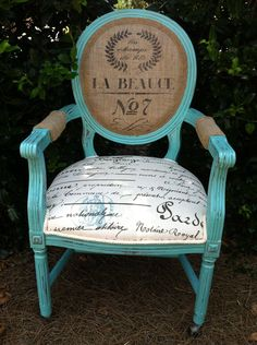 French Louis XVI Arm Chair Shabby Chic Upholstered Burlap Custom Chalk Paint Annie Sloan. $529.00, via Etsy.