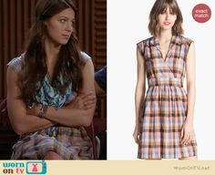 Marley's blue and orange check print dress on Glee. Outfit Details: http://wornontv.net/19550