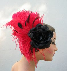hair accessory women  Red Feather Fascinator by BatcakesCouture,