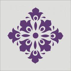 Scroll Stencil | Stencil flourish damask scroll wall design decoration 6 x 6 inches