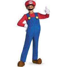 Ce déguisement de Mario™ version prestige pour enfant comprend un haut rouge, une salopette, une paire de gants, une paire de subottes, une moustache et un faux ventre.