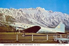 Cook Airlines at Queenstown, New Zealand. Air New Zealand, Air Lines, Commercial Aircraft, Civil Aviation, Vintage Images, Planes, Fighter Jets, Mount Cook, History