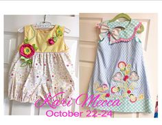 Kari Mecca will be making her premier debut at Farmhouse Fabrics October 22-24, 2015! 3 fabulous days of sewing with Kari - making a sweet bubble up to a size 24 months and an adorable dress with a size range of 2-8!