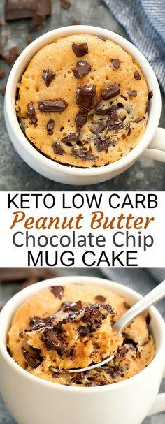 Keto Peanut Butter Chocolate Chip Mug Cake. This easy cake cooks in the microwave in less than 2 minutes. It is peanut buttery, rich, moist and low carb. snacks peanut butter Keto Peanut Butter Chocolate Chip Mug Cake Chocolate Layer Dessert, Chocolate Chip Mug Cake, Chocolate Mugs, Low Carb Chocolate Chip Cookies, Chocolate Chips, Vegan Bowl Recipes, Healthy Muffin Recipes, Healthy Mug Cakes, Easy Healthy Desserts