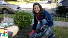 Jersey Cares volunteer landscaping outside of our agencies.