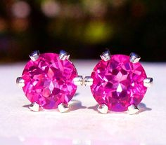 NEW Silver EARRINGS 6mm 1ct each VVS+ Beautifully Saturated Vivid Pink TOPAZ #Handmade #Stud