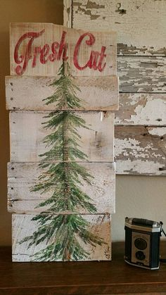 Diy Wooden Christmas Signs New 55 Cute Farmhouse Christmas Decor Ideas Christmas Tree Sale, Christmas Wood, Outdoor Christmas, Christmas Projects, Winter Christmas, Christmas Holidays, Painted Christmas Tree, Christmas Tree Painting, Pallet Christmas Tree
