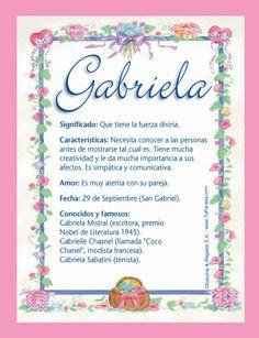 Gabriela, significado de Gabriela, nombre Gabriela, origen y significado de Gabriela, nombres para bebés. Origen de mi nombre Gabriela, qué significa mi nombre Gabriela.