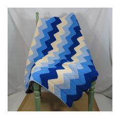 "Crochet Zigzag Chevron Afghan in Blues & Cream . Vintage Throw Blanket 60"" x 44"" by 13thStreetEmporium on Etsy"