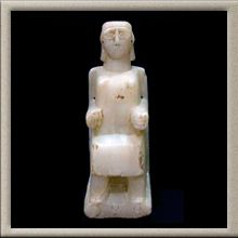 Sabaean Seated Statuette of a Woman - Origin: Yemen Circa: 600 BC to 100 BC Dimensions: high Collection: Biblical Antiquities Style: Sabean Medium: Calcite-Alabaster Antiquities, Woman, The Originals, Medium, Gallery, Collection, Style, Swag, Roof Rack