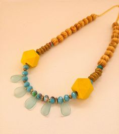 Yellow Wooden Necklace Turquoise Necklace Wood Necklace