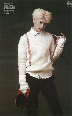 Seyoung, that's not how suspenders are supposed to work. Cross Gene, Kpop Boy, Pop Group, Suspenders, Celebrities, Drama, Candy, Boys, Life