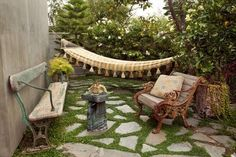 Unearthing the patio stones from our side yard last weekend has sparked our interest in using them to lay a very rustic patio. Backyard Hammock, Backyard Retreat, Backyard Landscaping, Backyard Ideas, Hammock Ideas, Patio Ideas, Backyard Designs, Landscaping Design, Garden Ideas